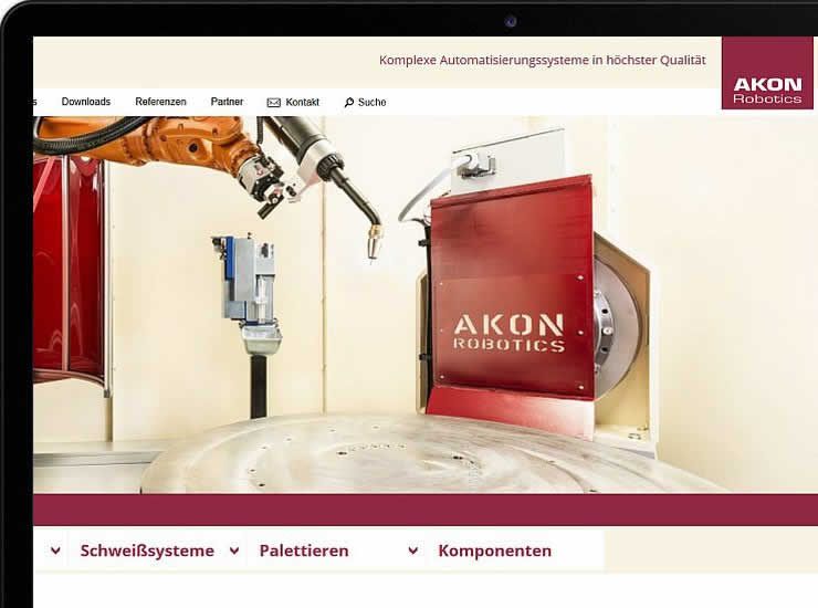 AKON Robotics website in Tablet Preview